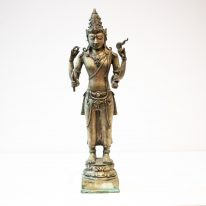 Large Antique 1800s Lord Vishnu Brass Statue - 39cm High