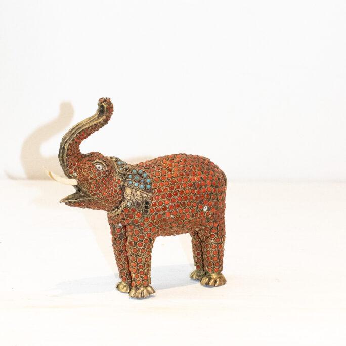 Antique Brass Tibetan Elephant Meditation Sculpture