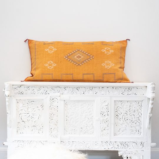 Moroccan Cactus Silk Meditation Cushion Cover - Faded Orange - 90x50cm