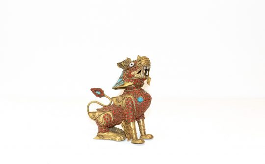 Antique Brass Tibetan Meditation Lion (Red Sitting) - 100+ yrs old, Handmade - 13.5cm high