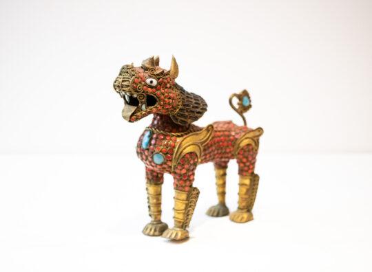 Large Antique Brass Tibetan Meditation Lion
