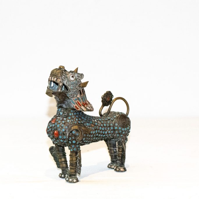 Medium Antique Brass Tibetan Meditation Lion (Blue Standing) - 100+ yrs old, Handmade - 14.5cm high