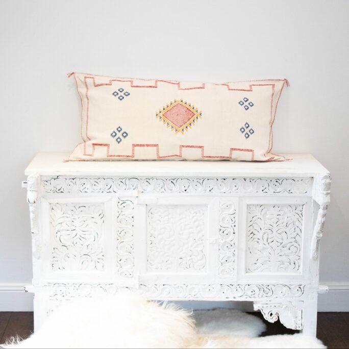 Moroccan Cactus Silk Meditation Cushion Cover - White - 90x50cm