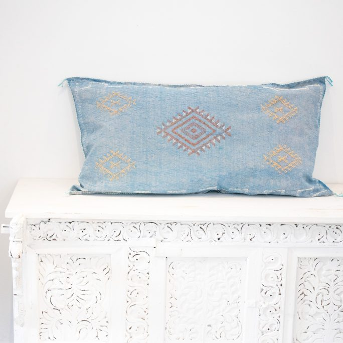 Moroccan Cactus Silk Meditation Cushion Cover - Faded Blue - 90x50cm