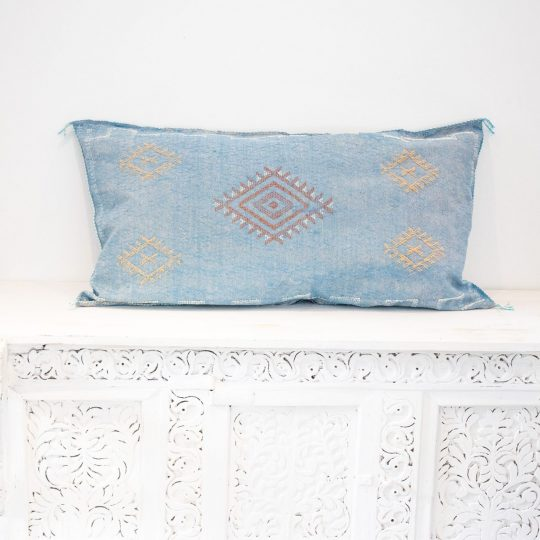 Moroccan Cactus Silk Meditation Cushion Cover - Faded Blue - 90x50cm
