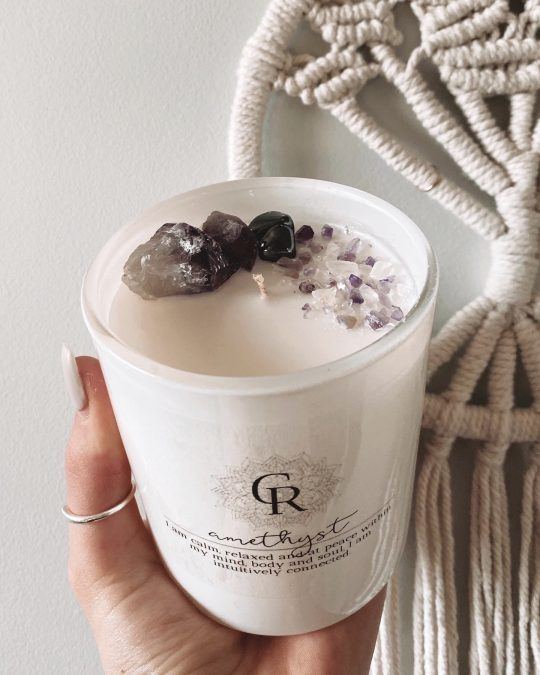 Intention Crystal Candle - Amethyst & Hematite