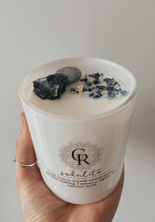 Intention Crystal Candle - Sodalite & Blue Quartz