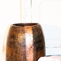 Antique Wood & Brass Pot