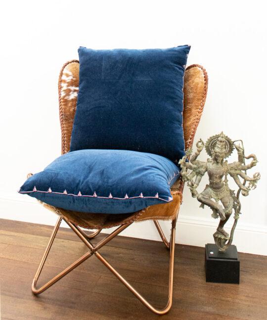 Calla Navy Velvet Cushion