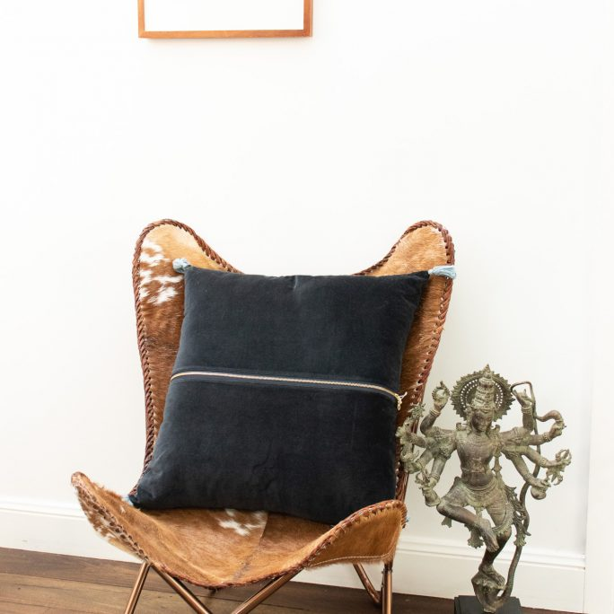 Biba Navy Velvet Cushion