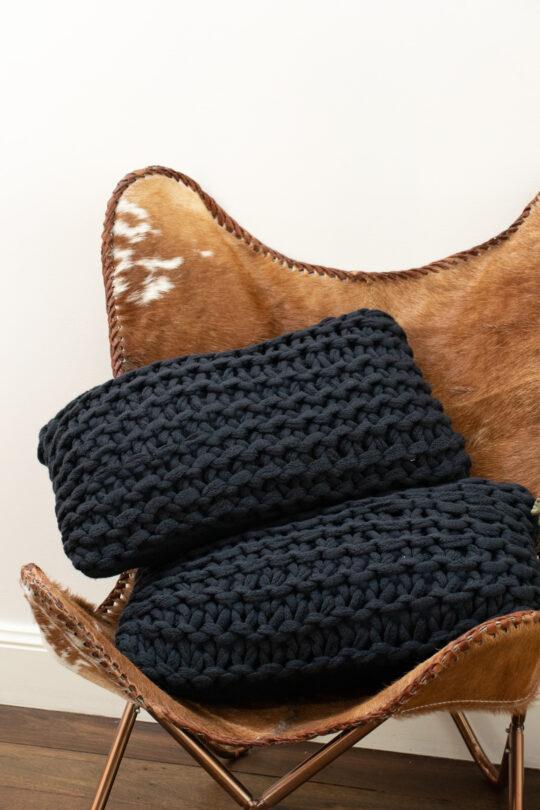 Navy Oblong Knit Cushion