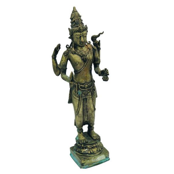 Large Antique 1800s Lord Vishnu Brass Statue - 39cm High